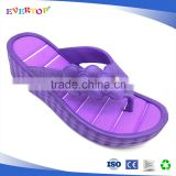 Custon fashional high heel lady eva slippers strap with nice ornaments purple flip flops