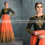 Enthralling Black and Orange Embroidered Work Georgette Anarkali Salwar Kameez/Buy Online Salwar Kameez