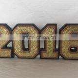Wooden Arabic number with glitter Home adorns products Decoration on desk new year gifts in window