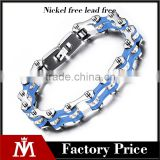 316 L stainless steel silver blue bike chain bracelet with crystal