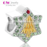 X345 Wholesale Star Shaped Custom Logo Charms,925 Silver Christmas Tree Charms With Crystal
