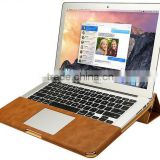 PU Leather Stand Cover Case For MacBook Air Pro Retina 11 12 13 15 inch Sleeve Luxury Leisure Laptop Bags & Case