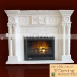 Hand Carved Marble Western European Fireplace With Statue Carved
