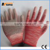 BSSAFETY China supplier 2015 wholesale 13 guage polyester knitted pvc dotted esd electrical hand job gloves