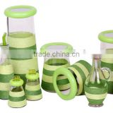 new designed decorative glass storage jar set with green straw