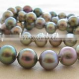 Fashionable 9-10 mm Peacock Green Freshwater Pearl Necklace