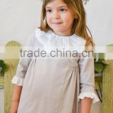 Latest autumn children clothing baby girl long sleeve doll neck pleated dresses grey baby dress