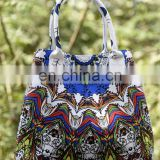 Indian Women Handbags New Art Peacock Feather Mandala Shopping Shoulder Carry Bag Tote Purse Green With Blue