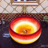 ceramic types of red fancy colorful bathroom round counter top wash basin