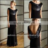 Elegant Cap Sleeves Low V-Back Black Chiffon Sequins Evening Dress Formal Dress