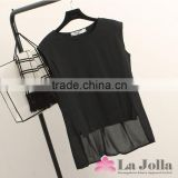 Hot sale ladies fashion Korean short front long back chiffon sleeveless blouse