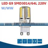 China made new product best price 3W 16*50mm g9 led light AC220V warm white mini 64pcs smd 3014 led g9