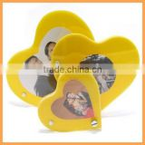 rotating 3 yellow love heart shapted acrylic magnetic photo frame personalized gift for birthday/Valentine's festival