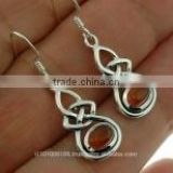 Baltic Amber Trinity Knot Silver Earrings, e302