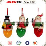 "4.4"" resin snowman and Santa Claus christmas decorations led, Christmas hanging figurine ornament"