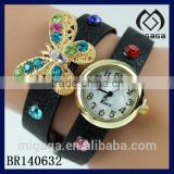 gold tone alloy quartz watch with leather pu strap bracelet*beautiful rhinestone butterfly watch bracelet