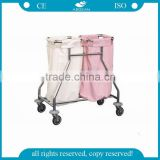 AG-SS019 Two bags SS frame hospital dressing medical linen trolley