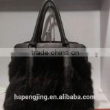 Super big size black color and dark brown mink fur bag with fashion trend with mixed colors