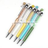 2016 Colourful new design crystal ball pen print logo metal ballpoint pen with bling ball
