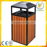 square wooden street park garden waste bin with round steel ashtray on top                                                                                                         Supplier's Choice
