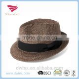 New Arrive 100%Nature Straw Material Dark Brown Trilby Vintage Fedora Hats