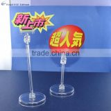 Plastic table stand or Poly-carbonate clear clip table stand or small counter clear clip table stand