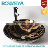 Foshan Sanitary Ware 12mm Thickness Tempered Glass Round Shaped Counter Top Brown and Black Wash Basin for Bathroom