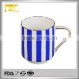 Tableware gold rim blue stripe ceramic a mug for tea coffee