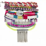 French style personalised coin weave bracelet friendship bracelets with silver chain tassel