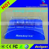 Stationery 3 tier Display Supplier Custom Blue Acrylic Pen Display Stand