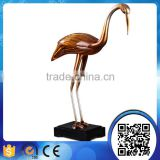 Wholesale antique animal craft statues decorative bird crane sculpture for living room ornament