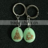 2015 Unique Hot sale natural luminous stone Buddha pendant keychains for gift