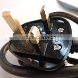 UK 3pin Pigtail Power Cord with 13amp fuse plug UK BSI certified 3 wire cords power plug