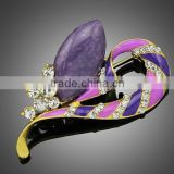 wholesale purple rhinestone brooch for wedding invitation