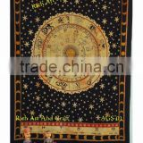 Astrology Indian Horoscope Zodiac Tapestry Wall Hanging Hippie Throw Bedspread Bed Cover India