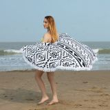 White&Black Printing Circle Beach Towel/Round Beach Towel