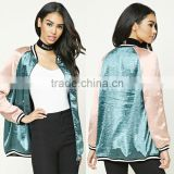 Latest Women Fashion Clothing Wholesale Custom Contrast Raglan Sleeves Oversized Plus Size Satin Romber Skiing Jacket