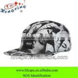 Black and white flat brim custom floral blank snap back hats 5 panel