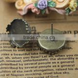 15mm Antique Bronze Round Ear Studs Crown Edge Blank Base Earring Tray For Cabochon Bezels Setting