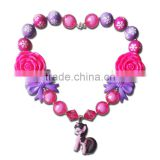 Handmade girls bubblegum chunky bead necklace Pony M5060706