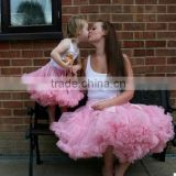 Vintage pink birthday kids tutu skirts baby girl outfit mommy and me dresses super pluffy girls pettiskirts