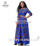 African dresses wax printed cotton peacock maxi skirt long sleeve top sets African clothes