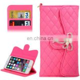 New Design Plaid Texture Sheepskin Diamond-encrusted Bowknot Button Flip Leather Case for iPhone 6