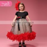Luxury black red Ball Gown Feather Cupcake Pageant Dress For Girl