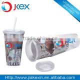 16OZ Double layer cup plastic travel mug with photo insert                                                                         Quality Choice