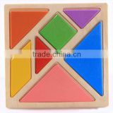 Wholesale Educational Kids Wooden Colored Tangram Jigsaw puzzle toys