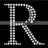 Simple Capital letter R hotfix crystal rhinestone transfer motif from Siya                                                                                                         Supplier's Choice