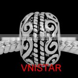 Vnistar silver&antique Silver plated european large hole metal bead with swirl stamped fit for european bracelet size in 9*12mm
