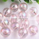 Light Pink Color Bulk Price 10MM to 20MM Stock Round Acrylic AB Effect Transparent Beads for Chunky Necklace Wholesales