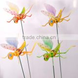 6 inch Cartoon Locust Plastic Grasshopper Flower Garden Stakes animals, Garden Planter Stick